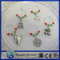 Crystal Christmas Snowflake Pendant Wine Glass Charms Xmas Party Dinner Table Rings Fine Decoration For Home Gifts