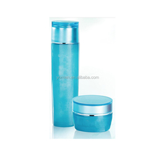 Fancy empty cosmetic skincare glass container glass cosmetic packaging with emulsion pump cosmetic glass milk bottles and jars