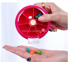 Round Shape Weekly Plastic Pill Box 7 Day Portable Pill Box Pill Dispenser
