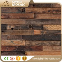 Classical Uneven Surface Mosaic Tile Home Decor Wood Mosaic Wall Panel