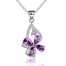 Alibaba Wholesale New Styles Simple 925 Silver Women Necklace Pendant Flower Pendant Gemstone Jewelry with Diamante Heart