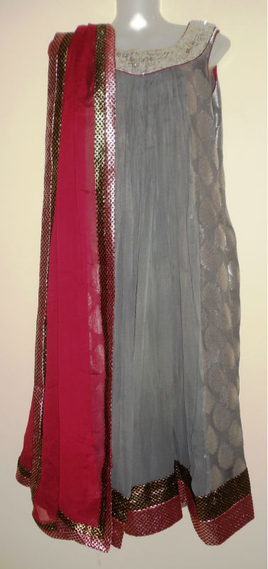 Grey color Georgette salwaar kameez with grey jhamevar on side panel.