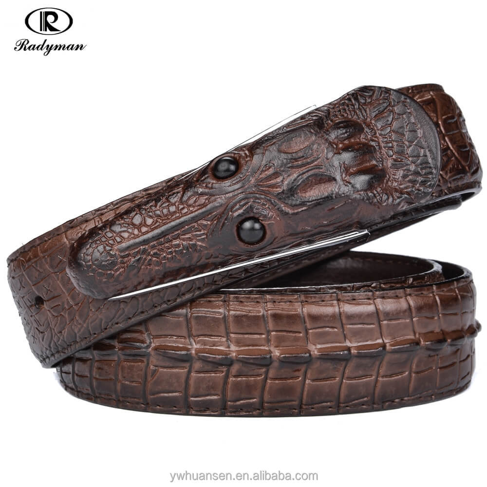 Radyman Newest Men's Genuine Leather <strong>Belt</strong> Popular Cool Crocodile Head Plate Buckle Ceinture Homme Luxe Marque Male Waist <strong>Belt</strong>