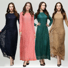 Factory Modern Fashion Long Full Lace Kaftan Muslimah Casual Dress