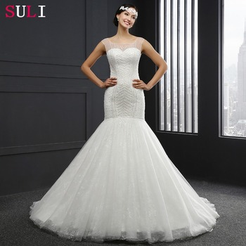 Q026 Cheap Long Lace Crystal Backless Mermaid Wedding Dresses 2016