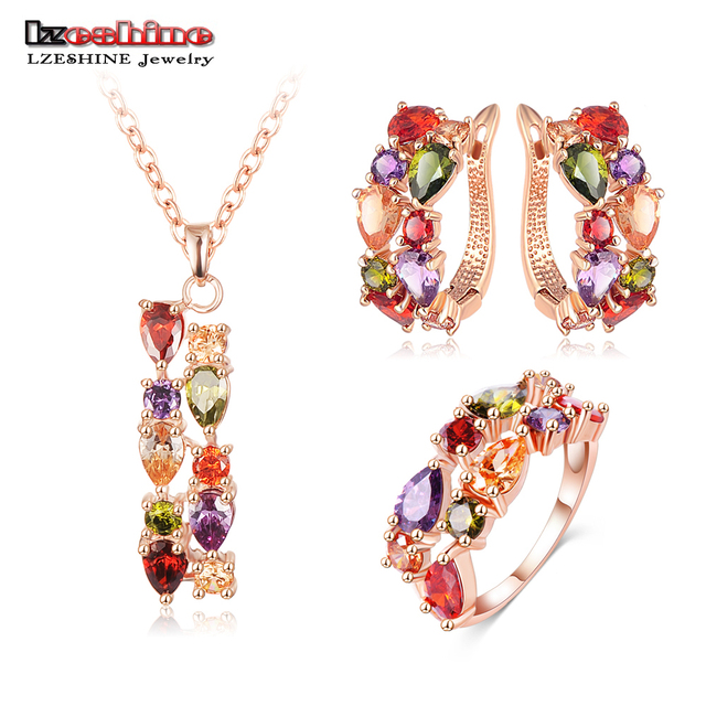 LZESHINE New Top  Rose Gold Plate Flower Jewelry Set Multicolor Cubic Zircon Pendant/Earrings/Ring Women Wedding Jewelry Sets
