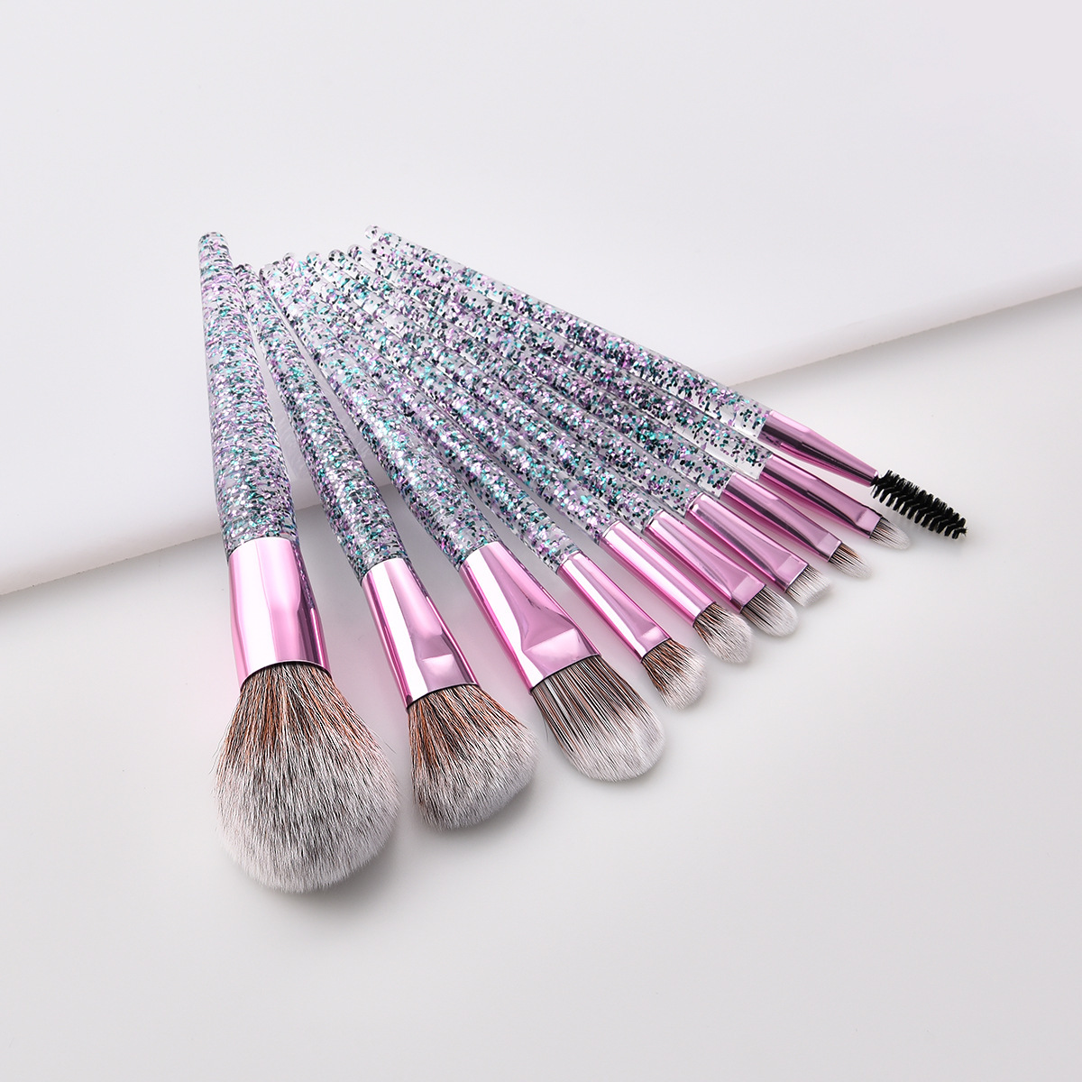10 transparent handle glitter brushes powder foundation makeup brush collection