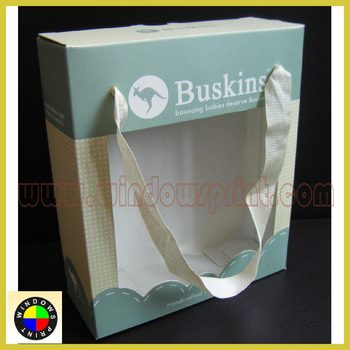 Nice paper card baby shoe box with ribbon handle
