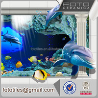 Glass crystal blue ocean bathroom 3d wall decorative tile