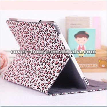 Pink Leopard Smart Leather case for iPad2 iPad3