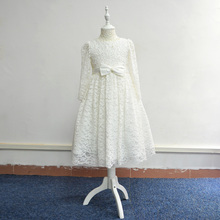 china supplier custom made long sleeve white lace beaded topwith bow brooch flower girl dress