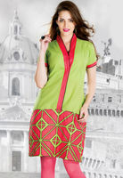Green poly cotton readymade kurta is designed with geometric print 2016