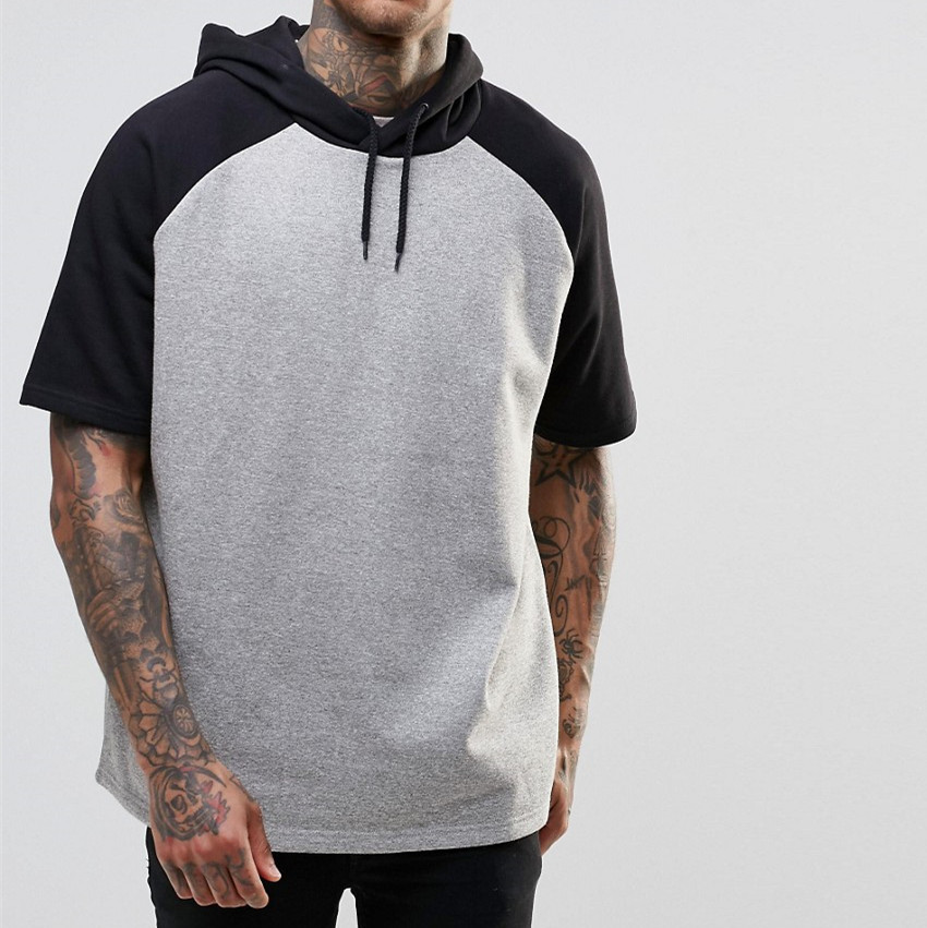 2016 New Fasion Show European Men's Short Sleeve Hoodie, Gray Hoodie With Screen Print