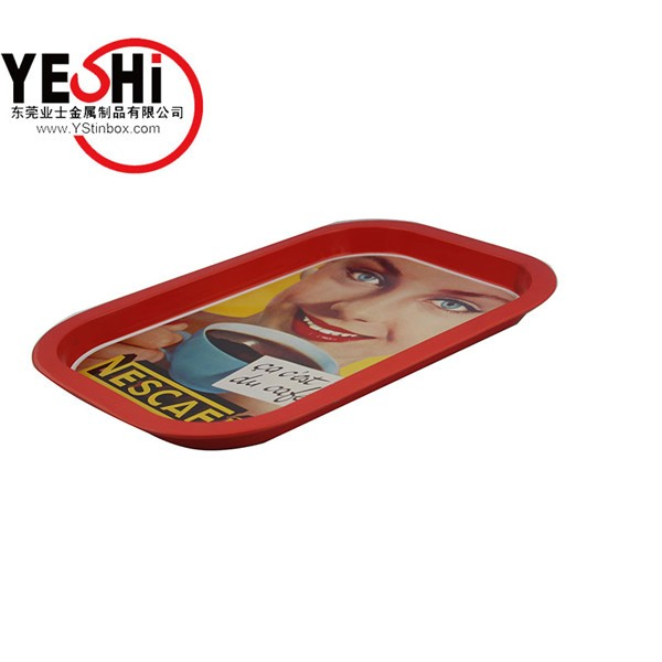 Alibaba Gold supplier Accept Custom Order rolling tin tray with rolled edge