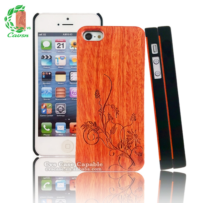 Engraved Wood Case for iPhone Wholesale Wood Mobile Phone Case for iPhone 5 New Product