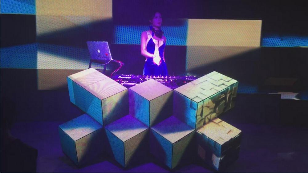 led pixel dj booth mixer desk dj facade for nightclub