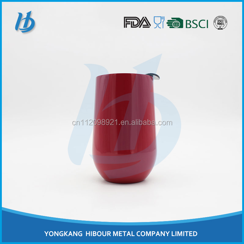 Factory directly price bpa free high quality 18/8 stainless steel stemless wine glass, heavy wine glass with black lid