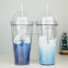 Wholesale High Quality Drinking Hard Plastic Cup With Lid And Straw