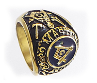 Wholesale Fashion Gold Stainless Steel Masonic Ring for Men, master masonic signet ring, freemason ring jewelry