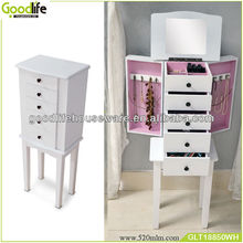 Wooden Mirror Jewellery Armoire 5 Drawer Cabinet Storage Chest Jewelry White Box
