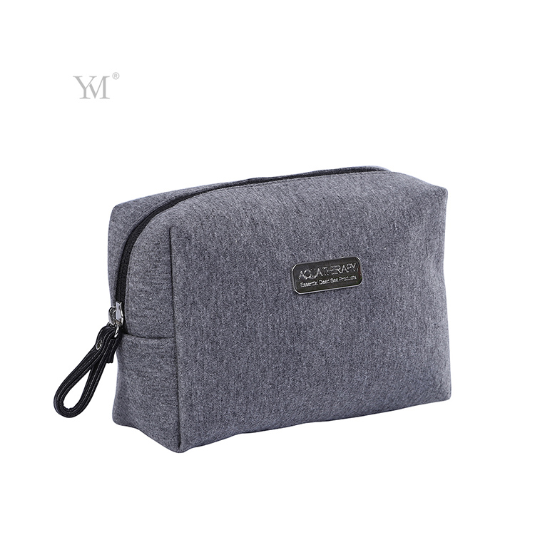 Soft cotton grey custom outdoor makeup cosmetic case set bag with customized logo