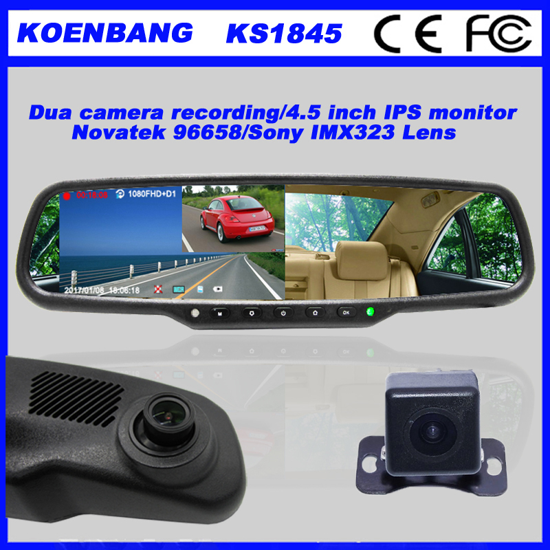 KOEN Replecement 4.5 Inch Monitor OEM Rearview Mirror DVR Rear View Mirror Camera