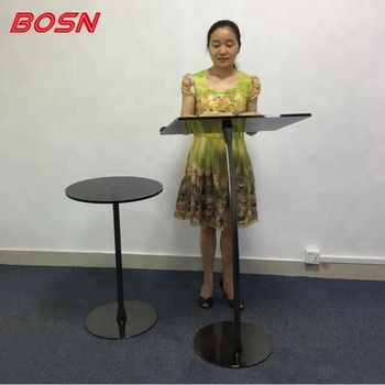 Simple Floor Standing Steel Lecterns Podiums Pulpit, Black Poles, Acrylic Top