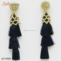 Boho chic jewelry three layered all black cap tassel statement earrings for women