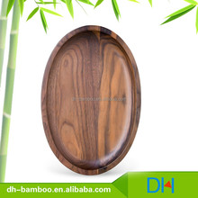 High Quality Eco-friendly Black Walnut Wood Plate Covering with Vegetable Oil Wooden Tray Oval Design for Restaurant