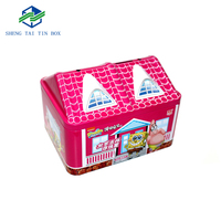 Gift Tins Coin Banks House Shaped Biscuit Tin Box For Promotional Purpose