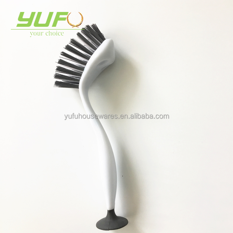 Kitchen Dishes Cup Suction Brush, Small PP Dish Cleaning Brush With Handle
