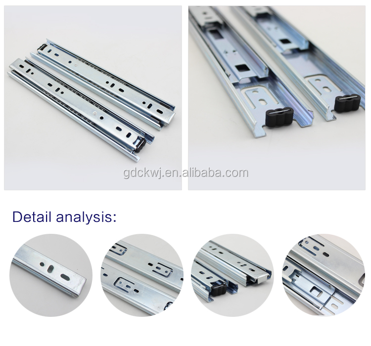 Heavy duty 3-fold ball bearing drawer runner telescopic channels tool box soft close drawer slides