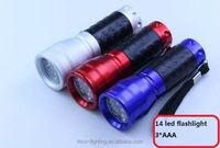 14 LED aluminum Flashlight with rubber hand