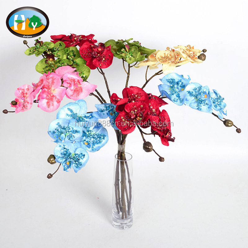 Wholesale Christmas artificial blue phalaenopsis orchid flowers for sale