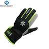 Grey super fabric gloves,black polyester back PU material hemming,hook&loop closure,fleece lining