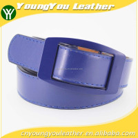 HOT 1 inch fashion PU leather belt dress for women with blue leather in yiwu