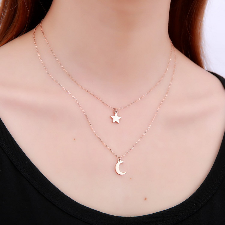 Women <strong>jewelry</strong> hot selling christmas necklaces fashion star abd moon two layer chain necklaces cheap stainless steel <strong>jewelry</strong>
