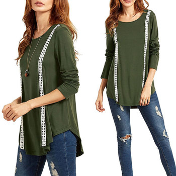 European and American lady hot style stitching long sleeve T-shirt