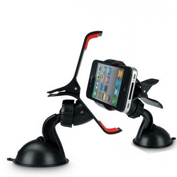 360 degree rotation mobile phone car clip mount holder with suction cup