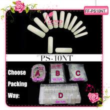 PS-10NT Salon Long Artificial french nail tips 10 size FULL cover Natural color for acrylic and gel nails