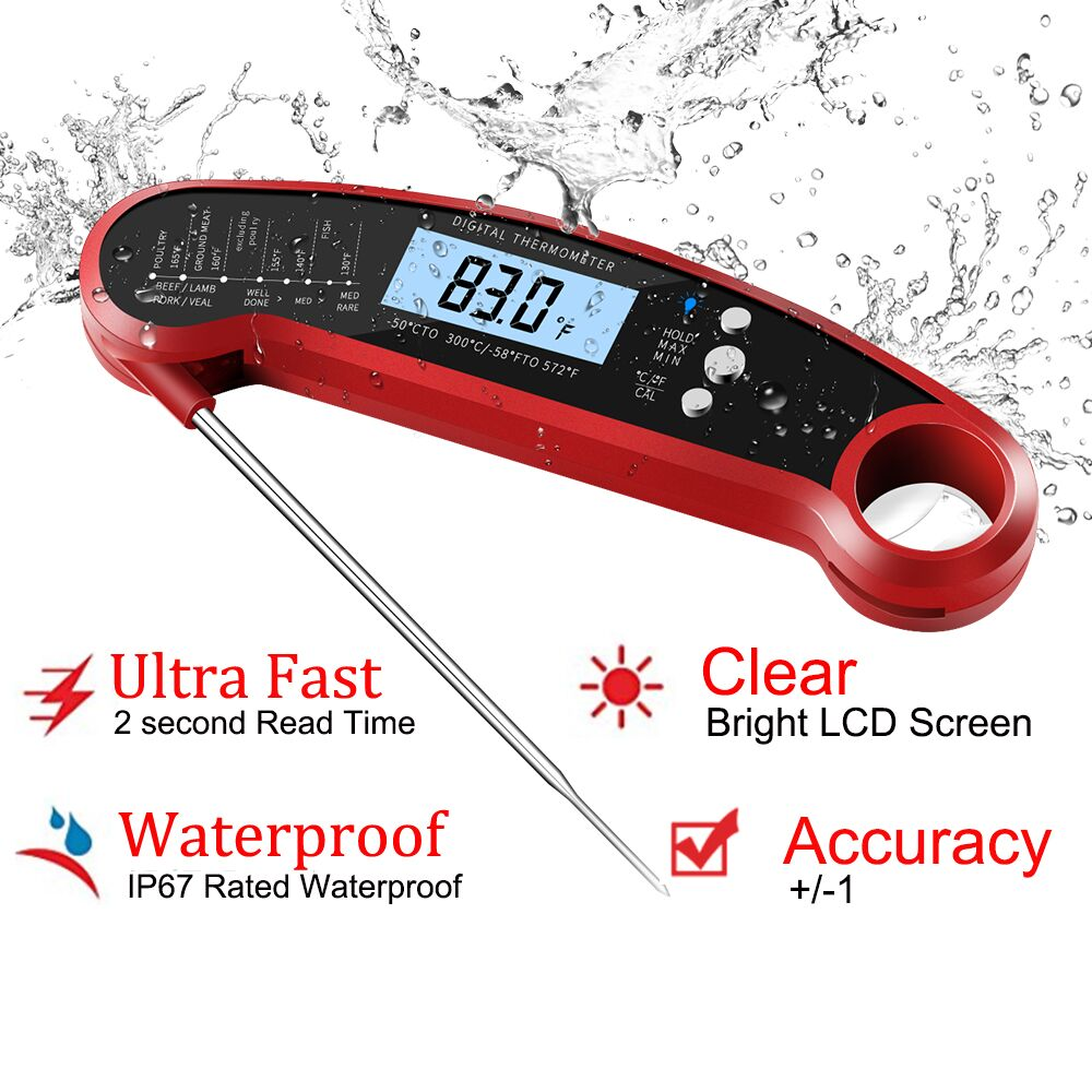 2018 Newest calibrated super fast ip68 instant read digital meat thermometer