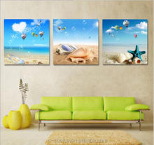 2016 flower paintings art on canvas Manufacturers selling Mediterranean style living room adornment triptych canvas frameless