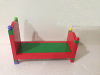 wooden craft mini furniture Children toys red mini bed