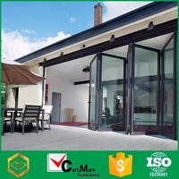 Red aluminum hanging fold slide door