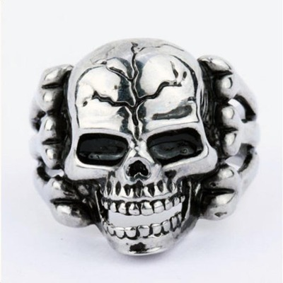 Men's Gothic Biker Punk Style Stainless Steel Silver Plated Alloy Satan Skeleton Skull Rings