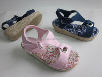 china wholesale kids shoes girls sandals high heel wedge sandals for girls jute sole espadrille shoes for kids