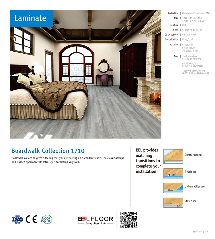 BBL 10 mm 8mm 12mm HDF impregnated decor paper laminated floors