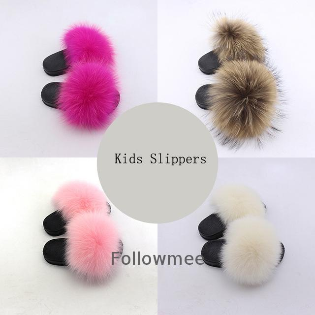 Wholesale Real Fox Slippers Kids Toddler Fur Child Home Slides Girl <strong>Flip</strong> Flops Raccoon Fluffy Cute Flats Summer Children Indoor