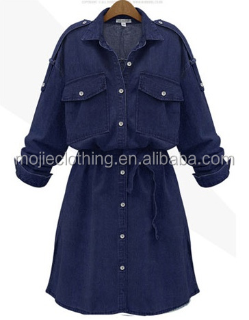 Fat Women Casual Long Sleeve chambray dress, Casual Dresses light blue jeans color style with front chest pockets
