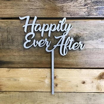Wood Happily Ever After wedding cake toppers
